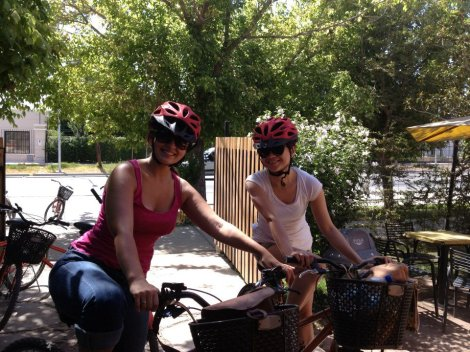 My new solo traveling friend Christie from Hong Kong and I about to start our self guided bike tour