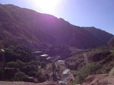 The early morning view from the bridge overlooking the Cacheuta hot springs before it opens