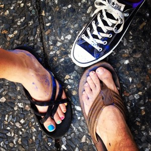 Our shoes after J'ouvert! Converse were the most comfortable.