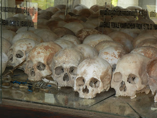 Some of the skulls found in the mass graves at the Killing Fields of Phnom Penh