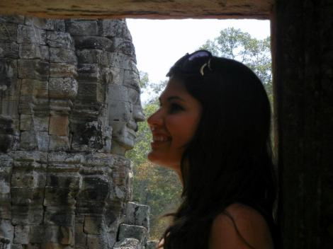 One of the guards at the temple in Angkor Wat had me give an Eskimo Kiss!