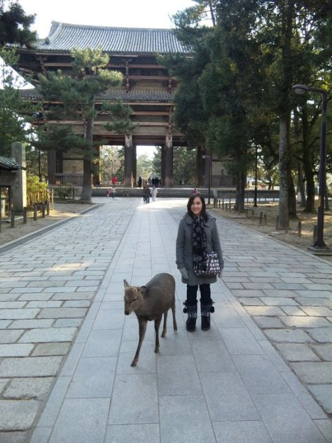 Sarah with a deer in Nara