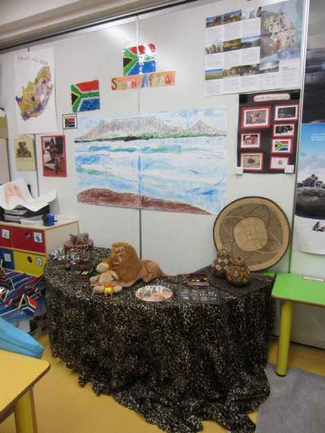 Sarah's class decorated as South Africa for International Children's Day