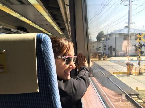 Sarah on the Shinkansen train