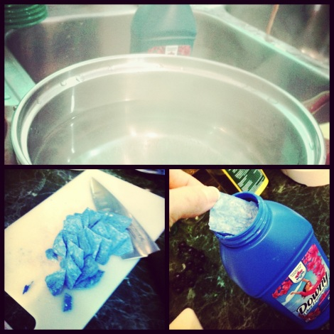 Here is a collage of the laundry detergent making process