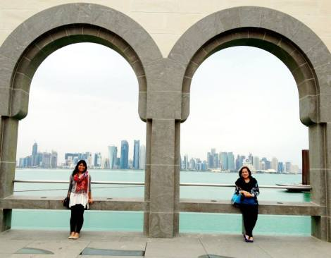 Having very supportive family and friends makes it easier to be away. Here, Doreenda's mom came to visit her in Doha. They are at the Islamic Museum of Art enjoying the view of the Doha skyline.