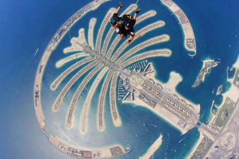 Skydiving in Dubai (a 45 minute plane ride from Doha) over The Palm.