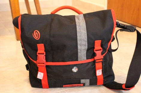 "My Timbuk2 D-Lux bag (with my ""I heart PDX"" pin on the front)"