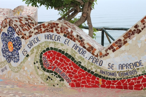 Gaudi-esq mosaic wall at the Parque del Amor