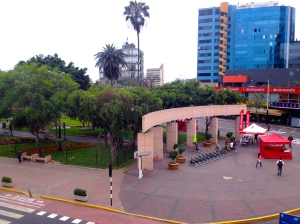 The view of Parque Kennedy from the Pariwana restaurant