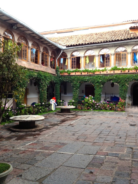 The Pariwana Cusco courtyard after the rain