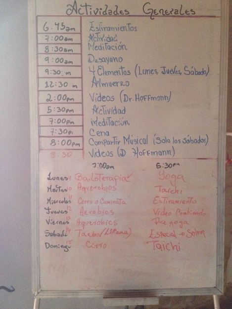 Schedule for my first day at the Hacienda