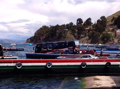 The bus on a TINY boat!