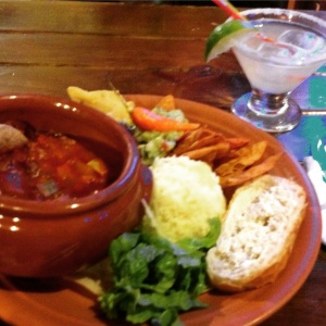 Cheap set lunch at La Cueva (margarita was extra though)