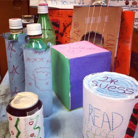 "Some of the musical ""instruments"" created by my class to celebrate Read Across CIC (aka Read Across America)"