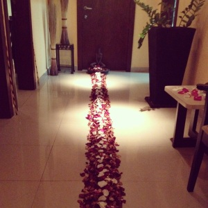 Rose petal pathway leading to my massage room at the Hesperia