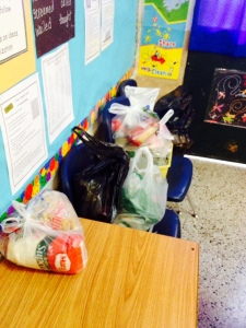 The last third of my class's food donations
