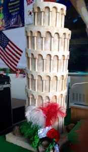 I found this model of the leaning tower of Pisa at the Italian food stand (huge Italian population at my school)