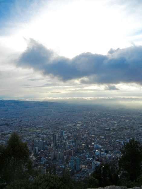The Bogota skyline as seen from the top of Cerro Monserrate