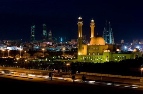 Manama, Bahrain skyline at night photo cred https://www.flickr.com/photos/philippeleroyer/3044028339