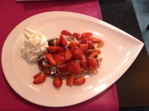 This waffle was embedded with little sugar chunks, delicious, but certainly not a diet food!
