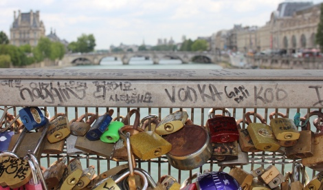 The view of love on a bridge in Paris
