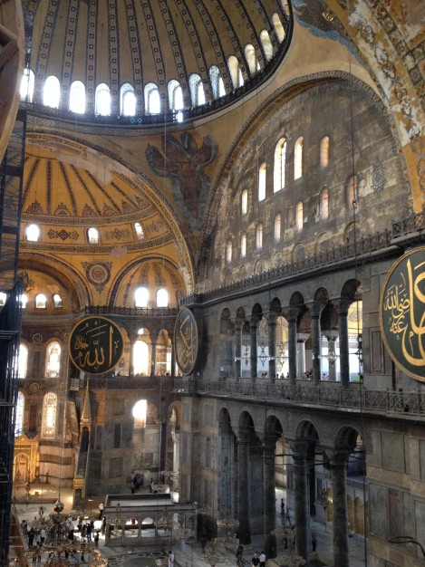 A view of the interior of the Aya Sofya from the upper level