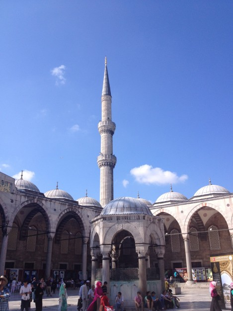 We did get to see the courtyard of the Blue Mosque though