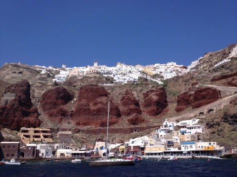 Oia harbor- take the donkey up!