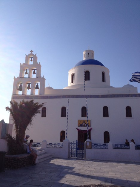 Church as the sun goes down in Oia