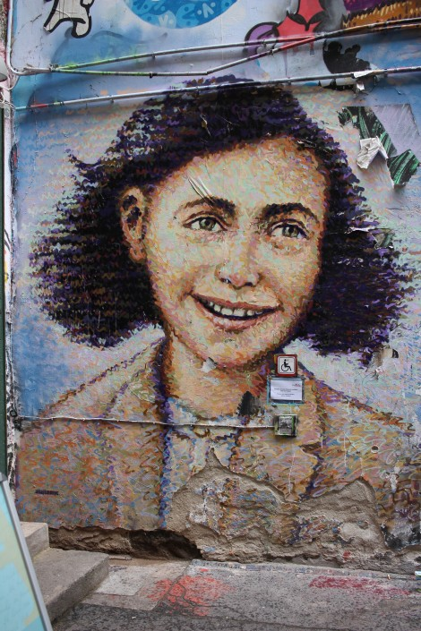 I didn't make it to her hideaway in Amsterdam, but I was blown away by this Anne Frank street art