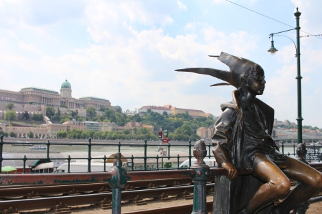 I loved this statue with the view of Budapest Castle in the background