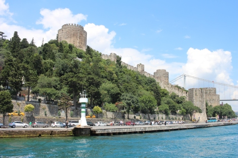 A view from the the boat with one end of the Sultan Mehmet Bridge in the background