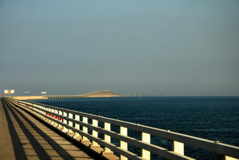 The King Fahd Causeway connecting Saudi Arabia and Bahrain photo cred https://www.flickr.com/photos/26116471@N03/6795178417/in/photolist-bmt4Nz-dUgQDq-8Xm4VR-82N9pJ-9t1YhT-aFKaLP-48XpBh-5TmDcP-7fDy7u-7fDBrb-3H3Snb