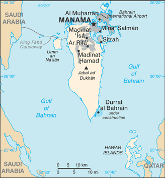 Bahrain map courtesy of Wikemedia Commons https://upload.wikimedia.org/wikipedia/commons/9/9a/Bahrain_map_-_2.png